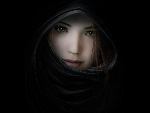 Girl In Black Cloak 壁紙画像