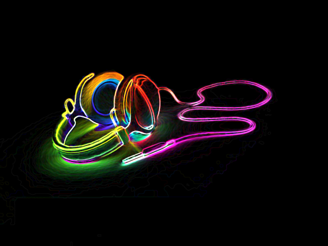 Neon Headphones 壁紙画像
