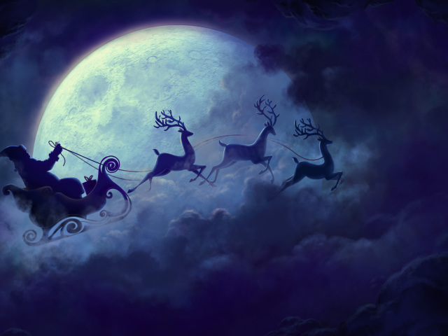 Santa Sled Moon Christmas 壁紙画像