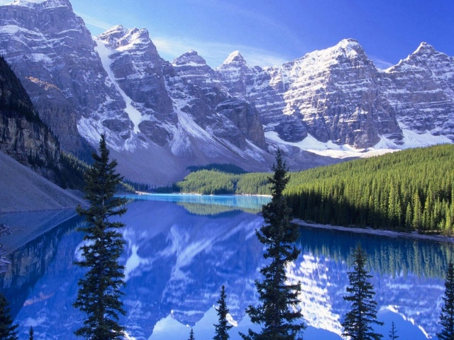 Blue Lake And Mountains 壁紙画像