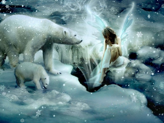 Polar Bear And Fairy 壁紙画像