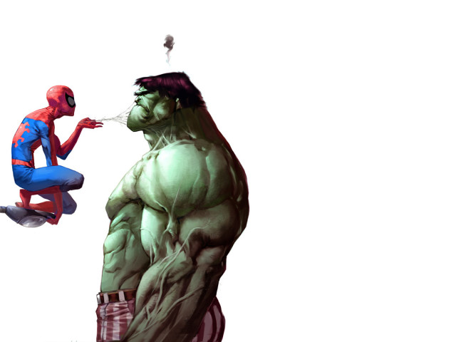 The Hulk With Spiderman 壁紙画像