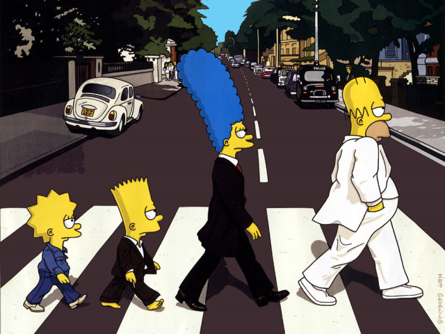 The Simpsons On Abbey Road 壁紙画像