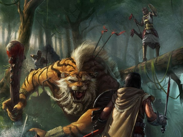 Tiger Versus Man 壁紙画像