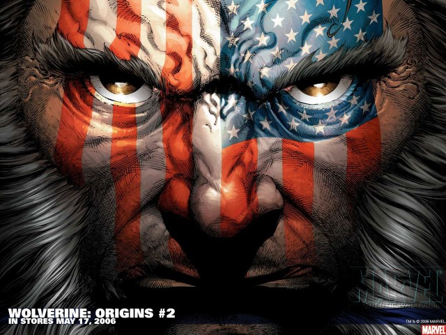 Wolverine With Us Flag 壁紙画像