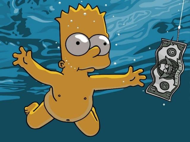Bart Simpson Dives For Krusty Buck 壁紙画像