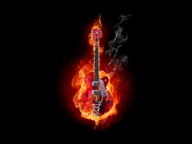 Flaming Guitar 壁紙画像