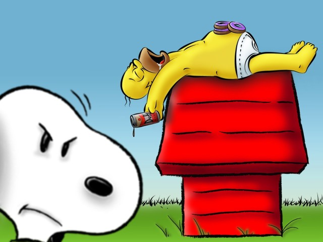 Homer Simpson Snoopy Doghouse 壁紙画像