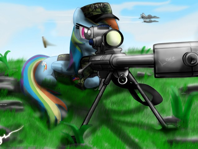 Little Pony With Sniper 壁紙画像