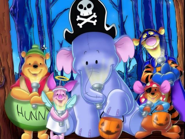 Pooh And Crew On Halloween 壁紙画像