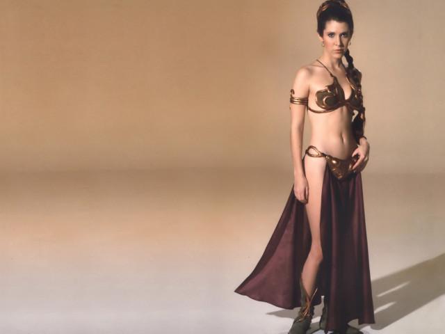 Princess Leia In Gold Bikini 壁紙画像