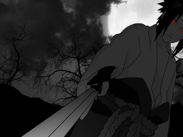 Sasuke Black And White 壁紙画像