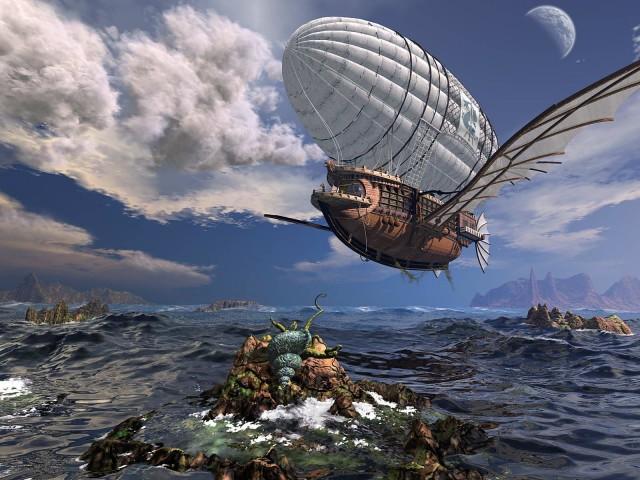 Steampunk Airship 壁紙画像