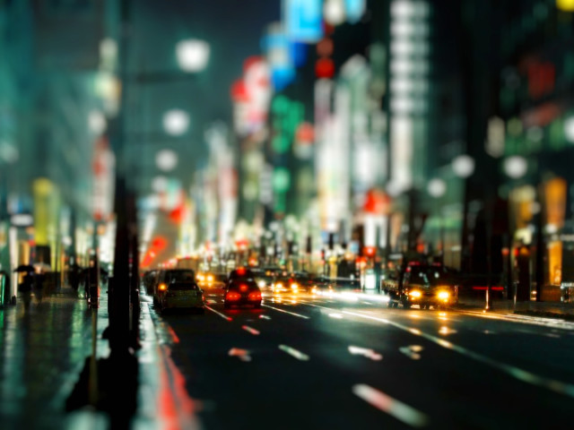 Tiltshift Rainy City Photo 壁紙画像