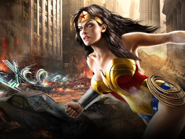 Wonder Woman In Ruined City 壁紙画像
