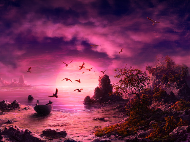 A Purple Sunset 壁紙画像
