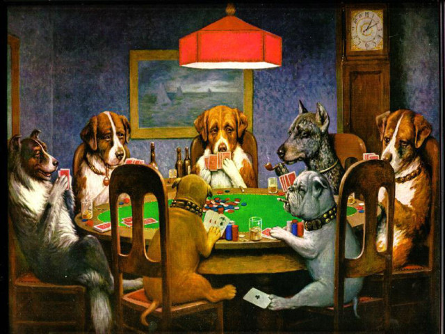 Dogs Playing Poker 壁紙画像