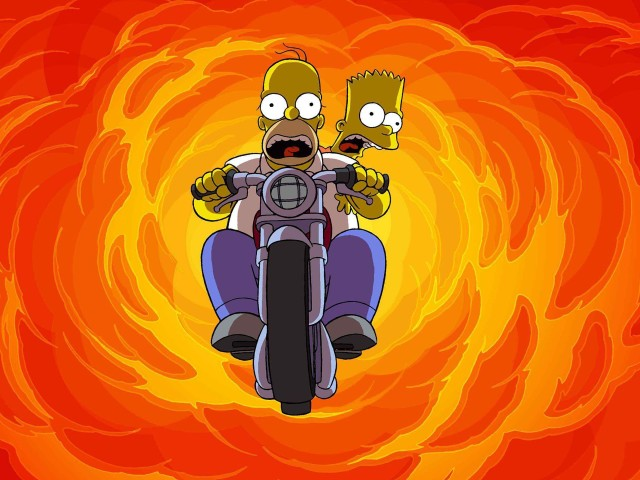 Homer And Bart Motorcycle Jump 壁紙画像