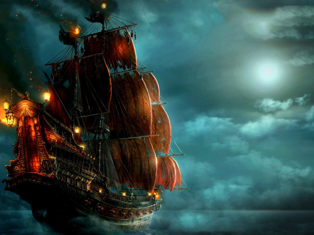 Pirate Ship Sailing 壁紙画像