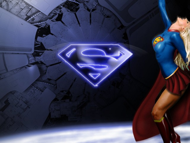 Supergirl With Superman Logo 壁紙画像