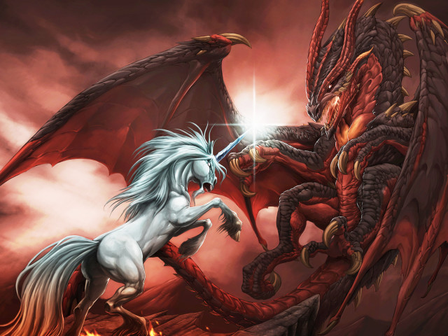 Dragon Vs Unicorn 壁紙画像