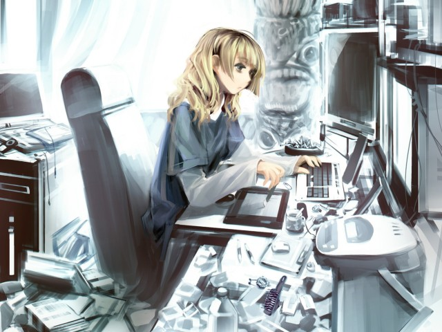 Girl On Desktop 壁紙画像